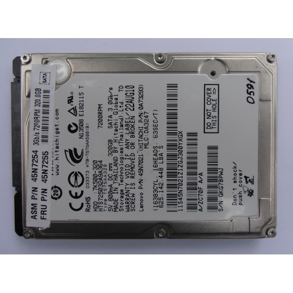 "Жесткий диск Hitachi HTS725032A9A364 22AUG10 0A73293 SATA 2.5"" 320gb"